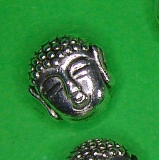5 x Buddhakopf Metallperlen 7mm dreidimensional