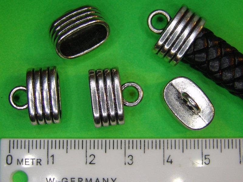 2 robuste Endkappen extra große Öffnung-Streifen Flechtband Leder