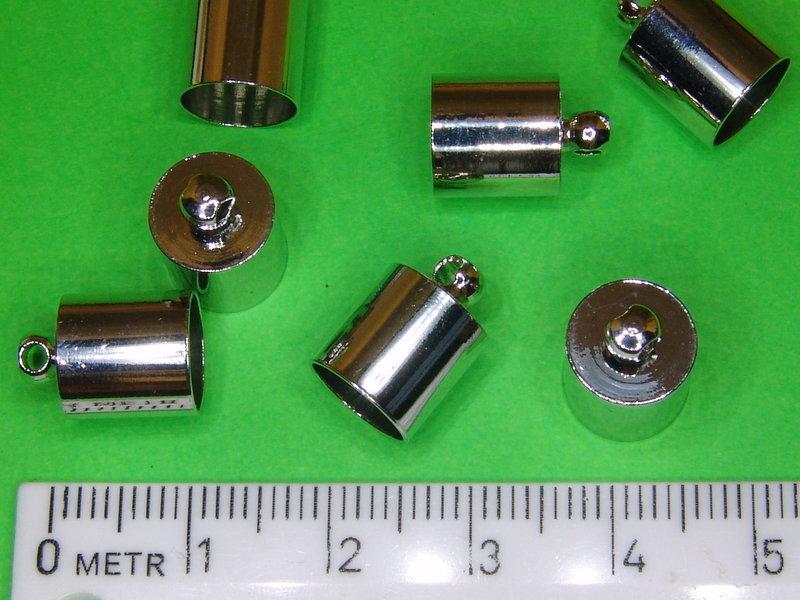 2 Endkappen Ø 8mm mit Öse rund zum Einkleben für Band Häkelketten