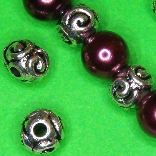 Kugel mit Plättchen versilbert,10 mm; W497 5 x Kupferperle