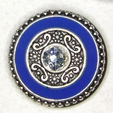 Ornament blau mit Strass Chunk Button de luxe Gr.L