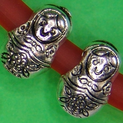 Matroschka russische Puppe Metallperle  European Bead Ø5mm