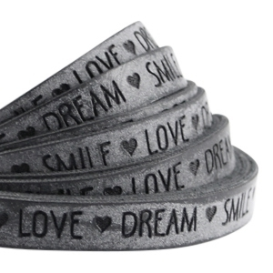 20cm Slogan Band Kunstleder grau LOVE DREAM SMILE 10mm