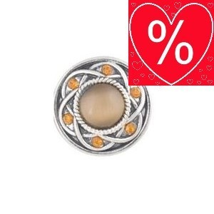 Nucleus Chunk Button de luxe Cateye Strass dksilb orange Gr.L Reduzierter Rest %
