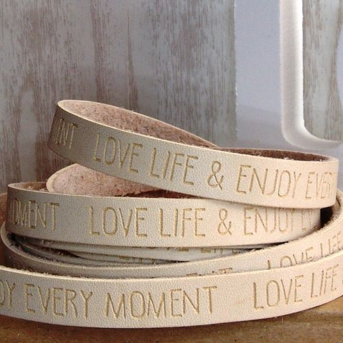 20cm Slogan Band Kunstleder natur helles beige LOVE LIFE ENJOY 10mm