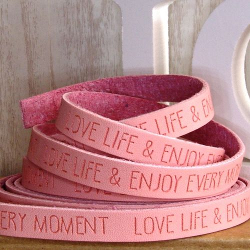 20cm Slogan Band Kunstleder rose peach LOVE LIFE ENJOY 10mm