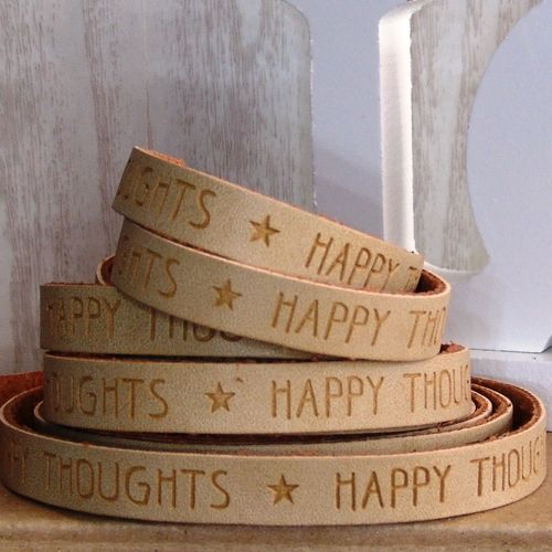 20cm Slogan Band Kunstleder camel HAPPY THOUGHTS  10mm
