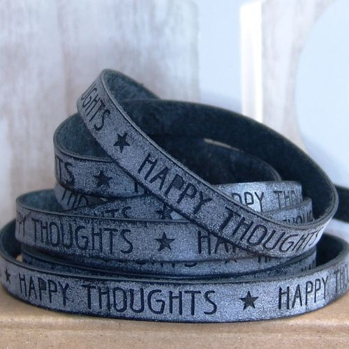 20cm Slogan Band Kunstleder grau HAPPY THOUGHTS  10mm