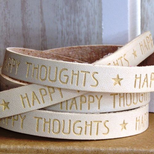 20cm Slogan Band Kunstleder natur hellbeige HAPPY THOUGHTS  10mm