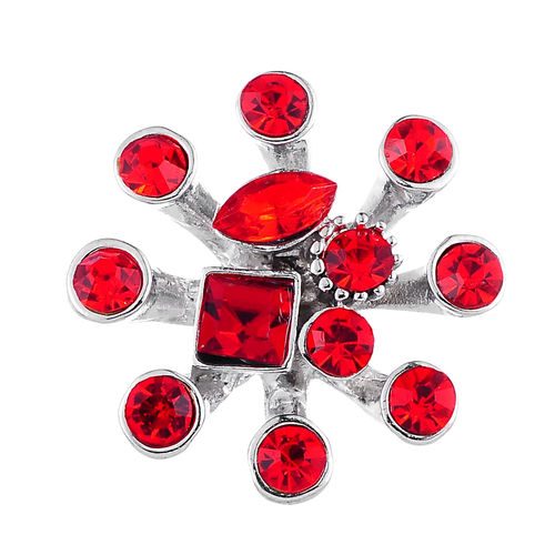 Strahlenblume rot edler Chunk Button de luxe farbig Gr.L