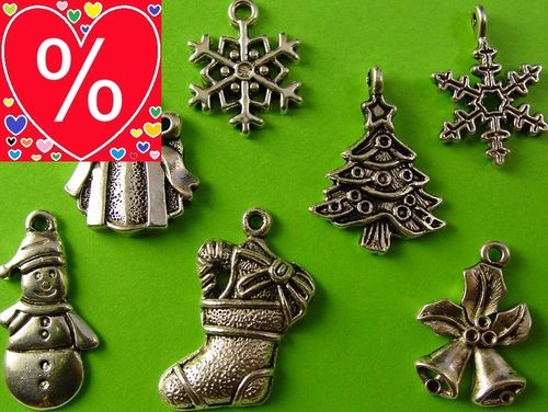 Weihnachten Winter 7tlg Metallanhänger Set AKTION!